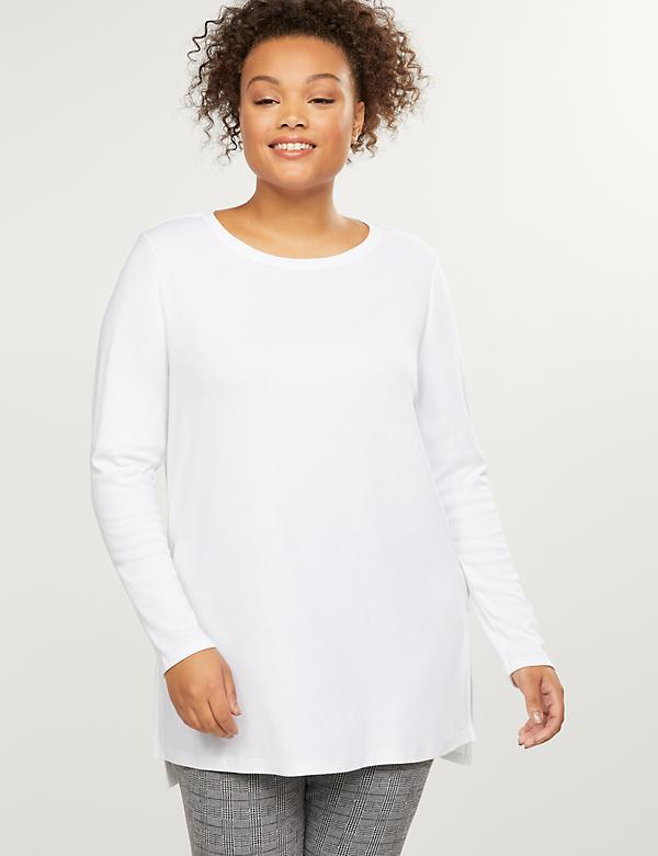 Long-Sleeve High-Low Tunic Tee