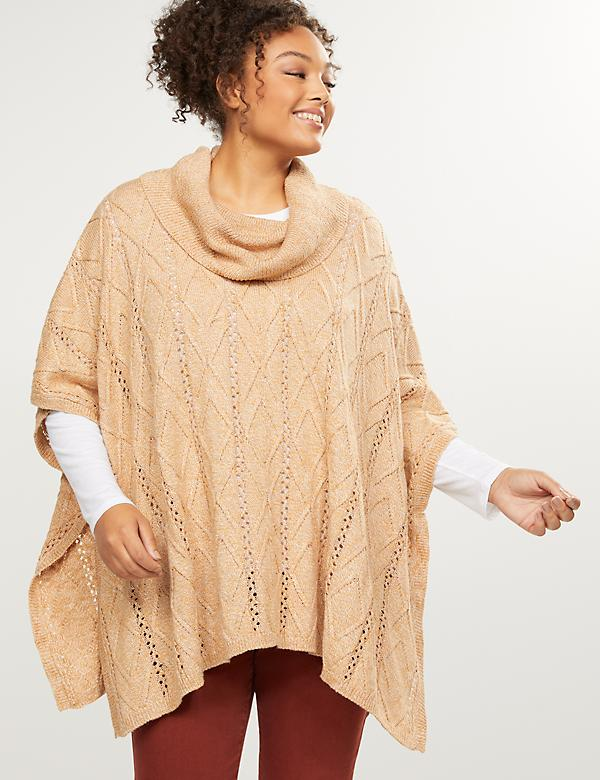 Cable Knit Cowl-Neck Poncho