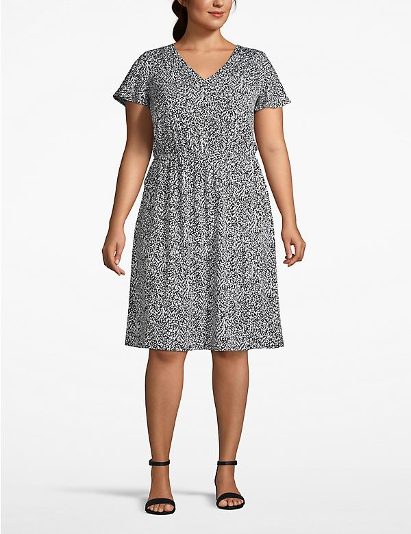 Short Sleeve Faux-Wrap Dress