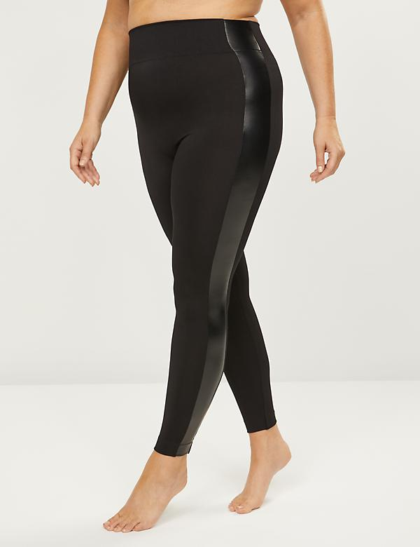 Faux-Leather Stripe Legging