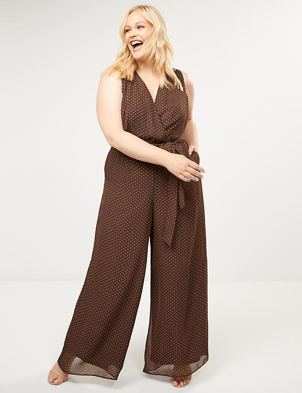 Polka Dot Faux-Wrap Jumpsuit