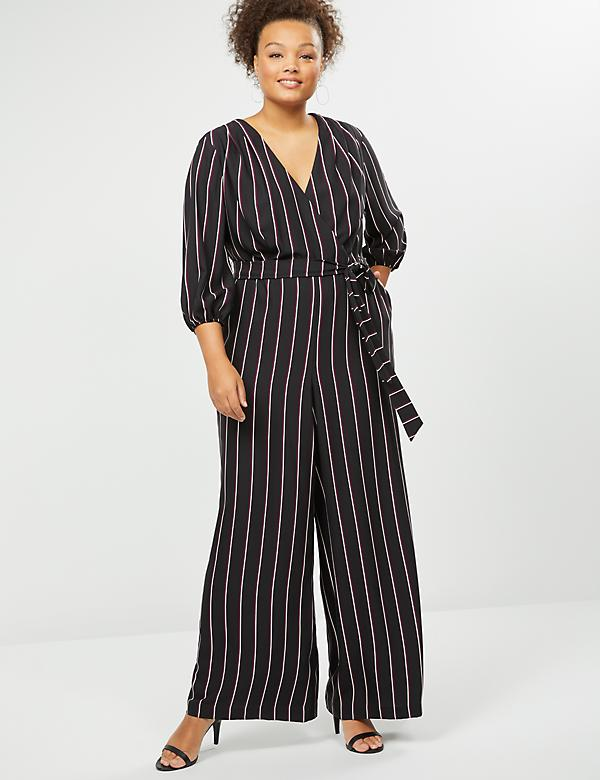 Striped Faux-Wrap Jumpsuit
