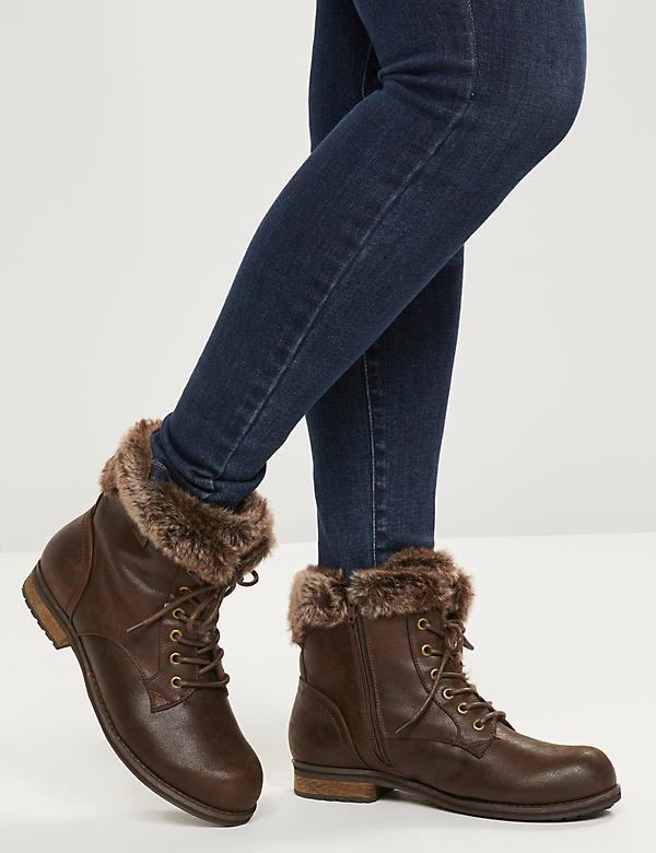 Zoe Lace-Up Ankle Boot With Faux-Fur