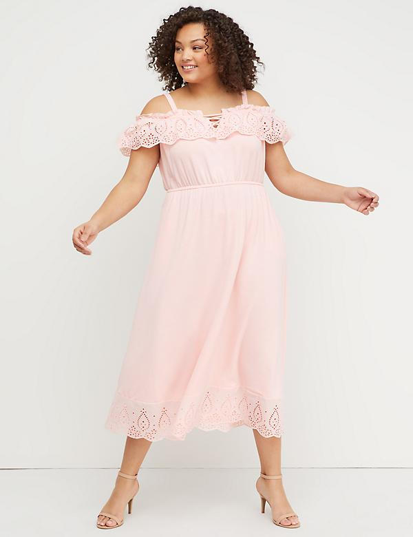 Eyelet Trim Off-the-Shoulder Midi Dress