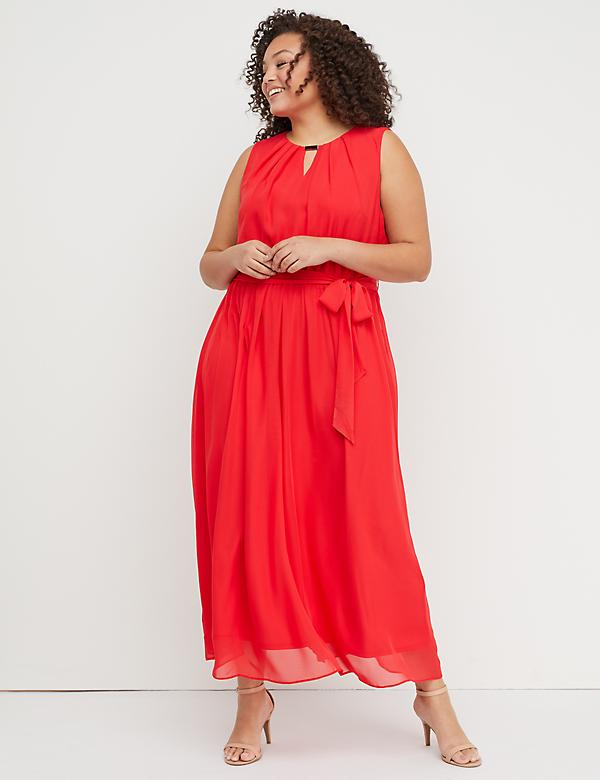 Pleat-Neck Maxi Dress with Hardware