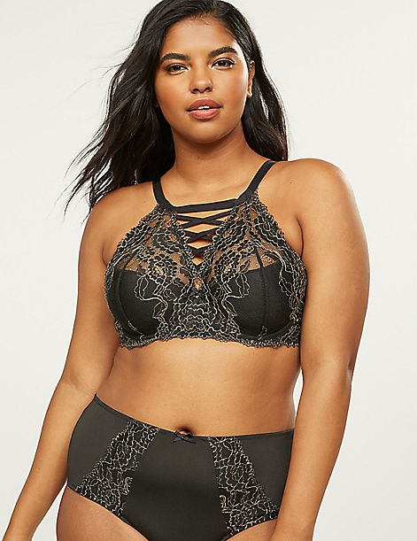 High-Neck French Balconette Bra With Metallic Lace