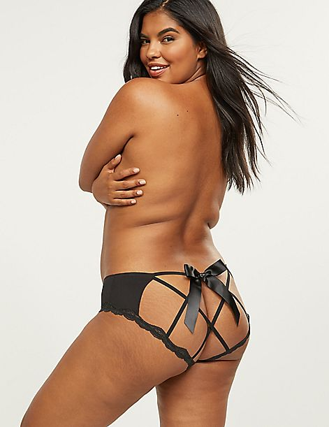 Open-Back Strappy Panty With Lace