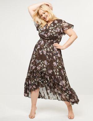be1ea7d066c9f Floral Flutter Sleeve High-Low Maxi Dress