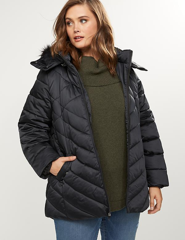 Puffer Coat With Faux-Fur Trimmed Hood