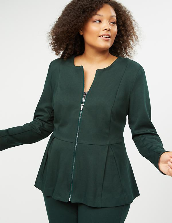 Textured Ponte Peplum Zip Jacket