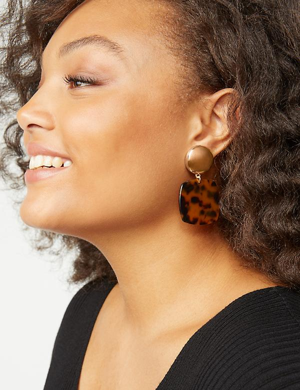 Tortoise Print Drop Earrings
