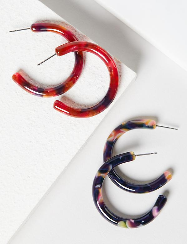 Hoop Earrings 2-Pack - Marbled Resin