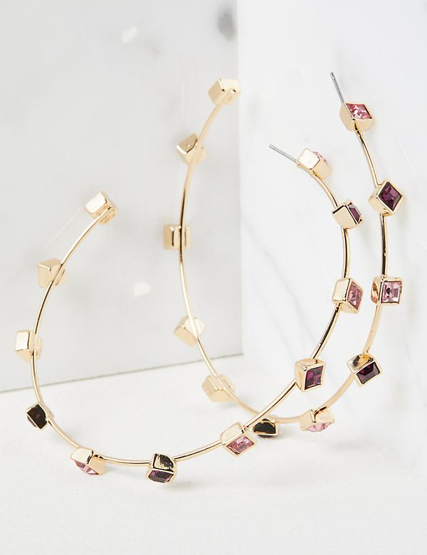 Scattered Gemstone Hoop Earrings