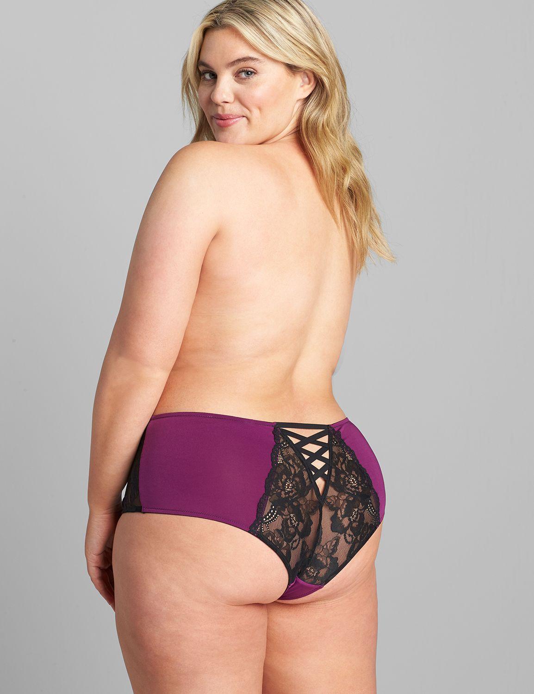 Lane Bryant Women's Mid-Waist Strappy-Back Cheeky Panty 12 Gloxinia