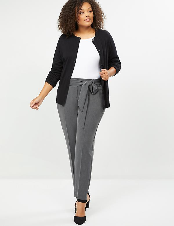 Allie Tailored Stretch Ankle Pant - Tie Waist
