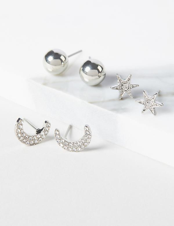 Moon & Stars Stud Earrings 3-Pack