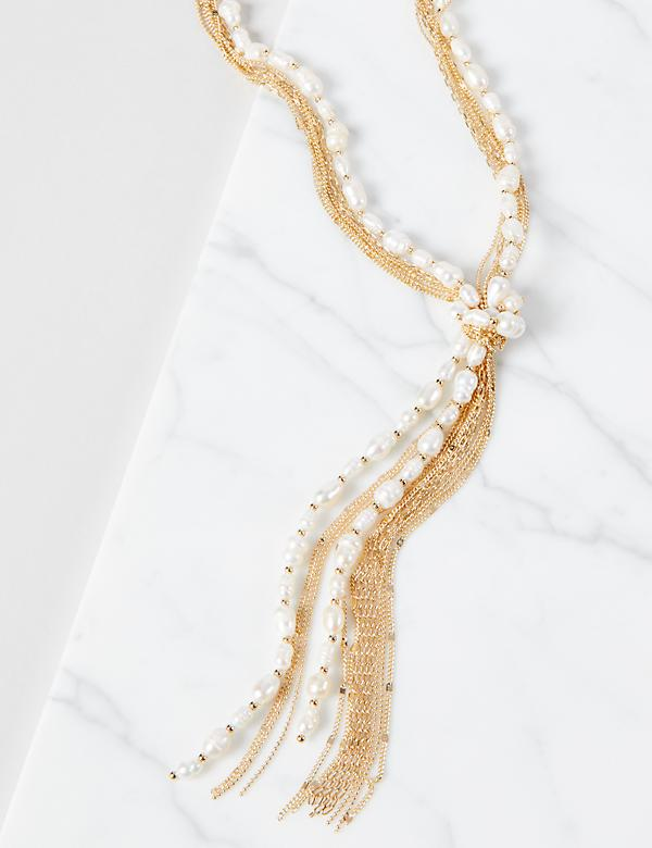 Pearlescent Multi-Strand Chain Necklace