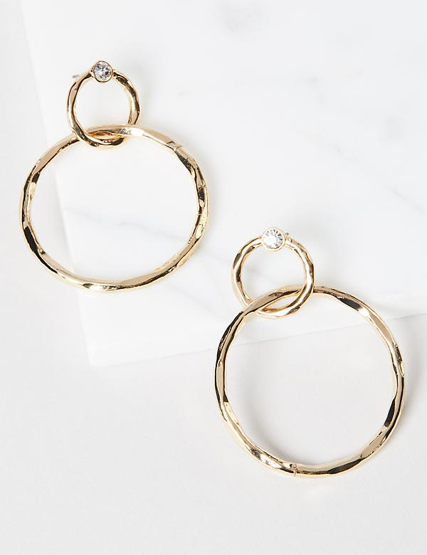 Textured Double-Drop Open Earrings