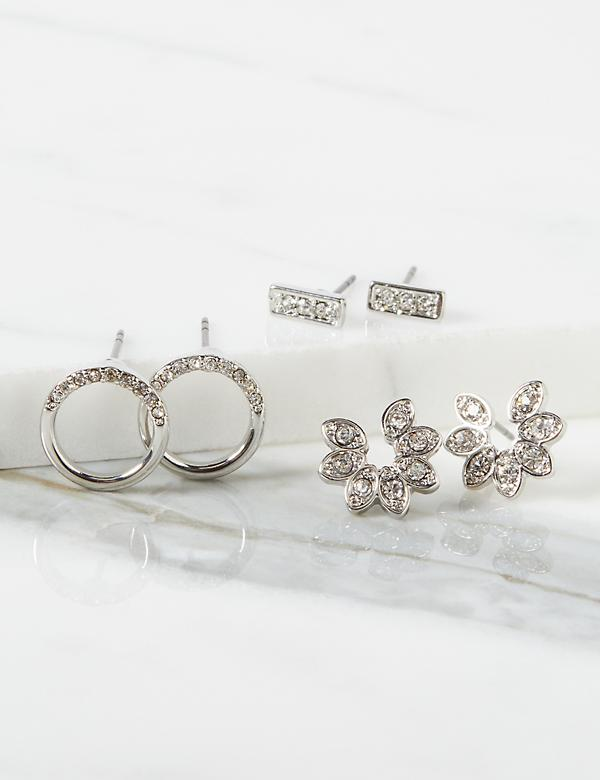 Stud Earrings 3-Pack - Floral & Geo