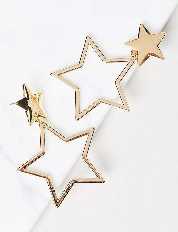 Double-Star Drop Earrings