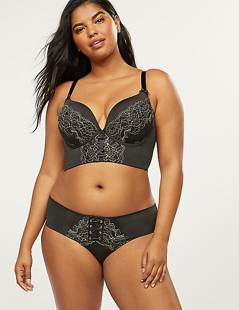 Strappy-Back Cheeky Panty With Metallic Lace