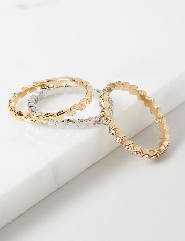 Textured Stackable Rings 3-Pack