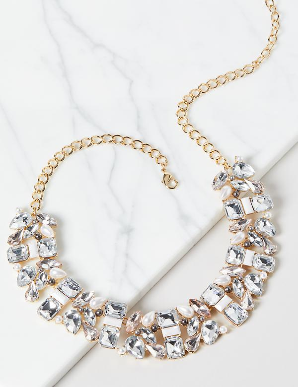 Pearlescent & Faceted Stone Statement Necklace