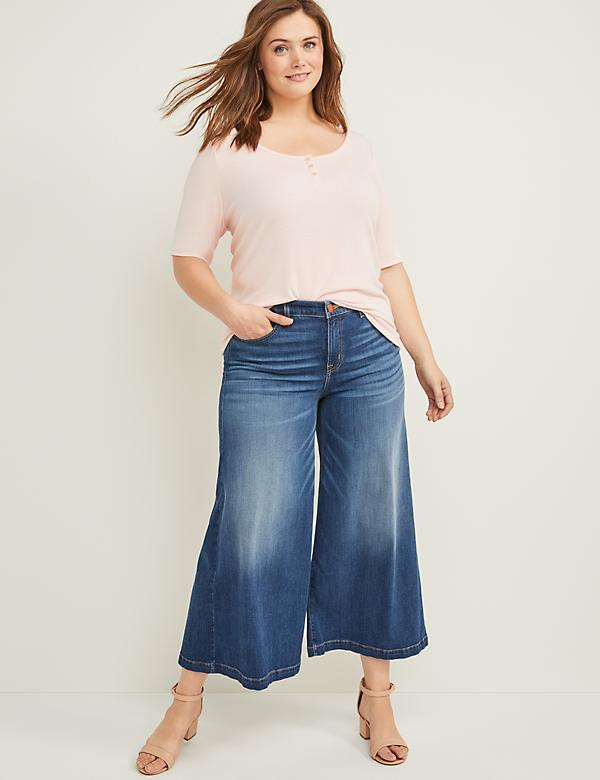 Wide Leg Mid Rise Crop Jean - Medium Wash