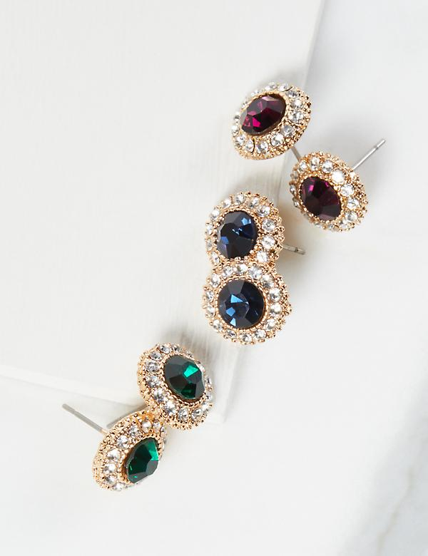 Stud Earrings 3-Pack - Halo Stones