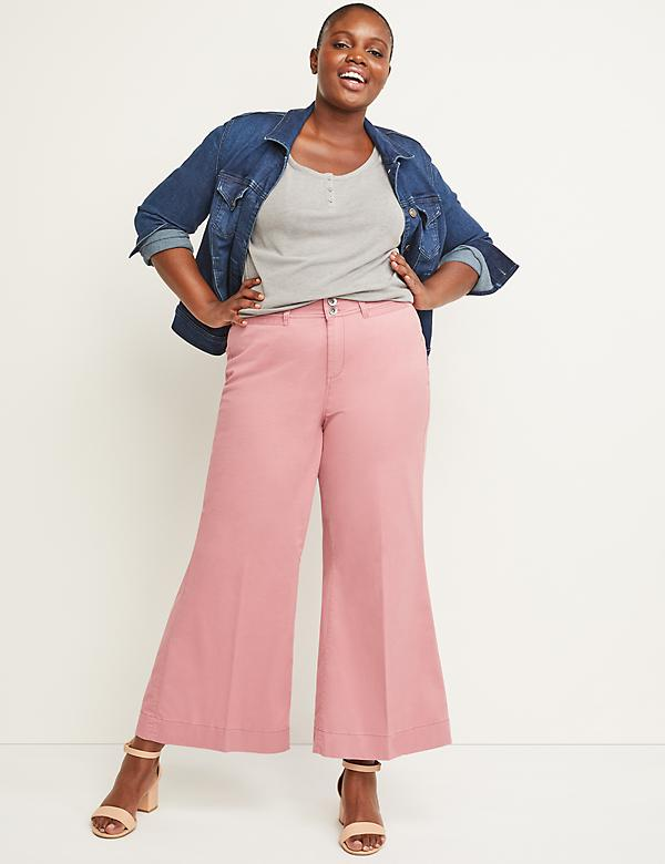 Wide Leg Chino Ankle Pant