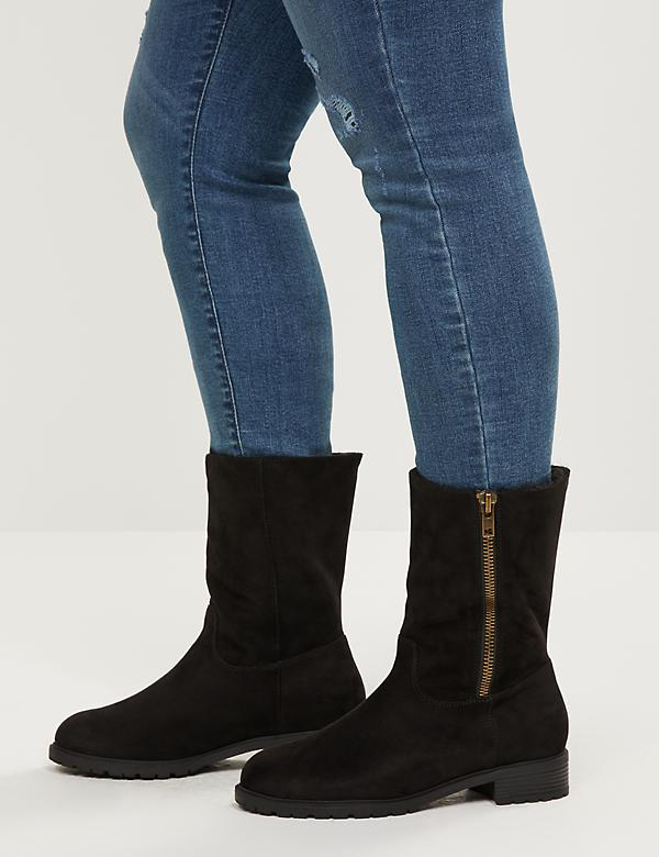 Faux-Fur Lined Boot With Side Zip