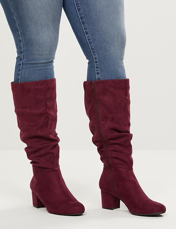 Faux-Suede Slouchy Heeled Boot