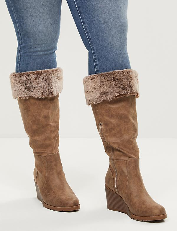 Emma Faux-Fur Cuff Wedge Boot