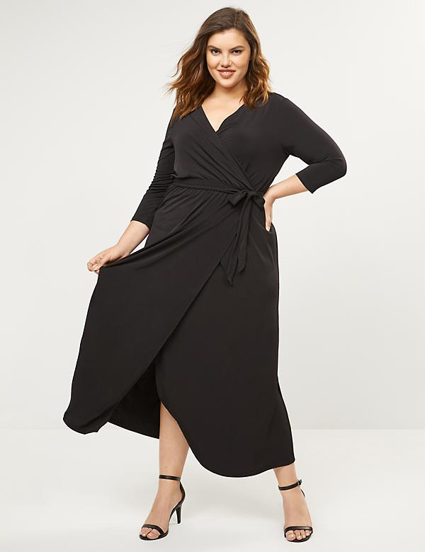 3/4 Sleeve Faux-Wrap Dress