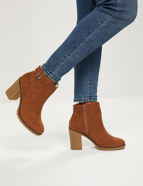 Faux-Suede Ankle Boot With Side Buckle