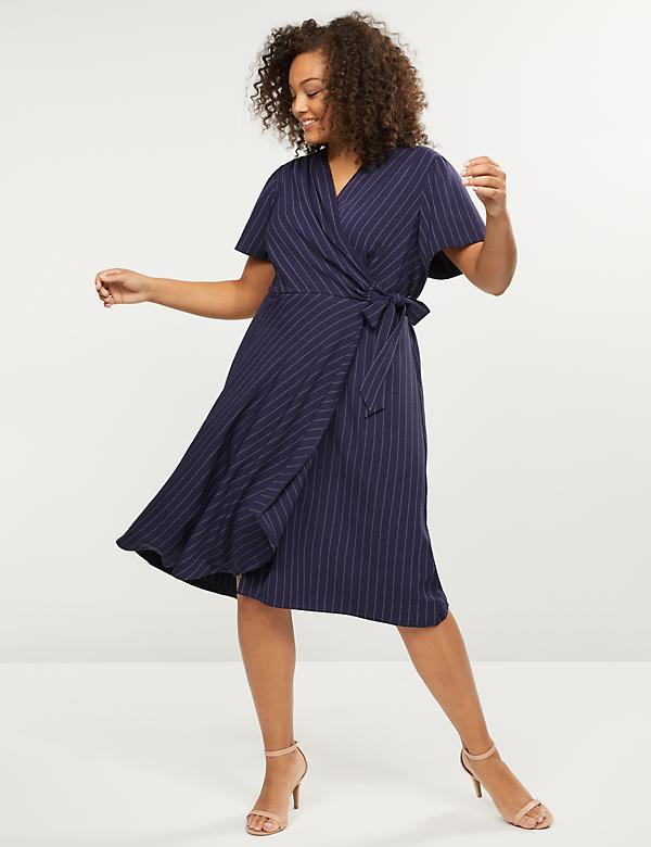 Pinstripe Faux-Wrap Midi Dress