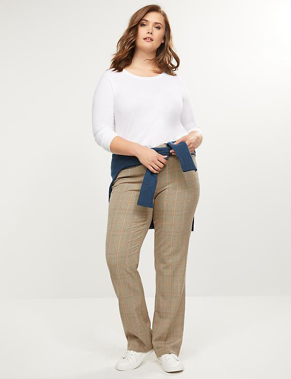 Allie Tailored Stretch Straight Pant - Plaid