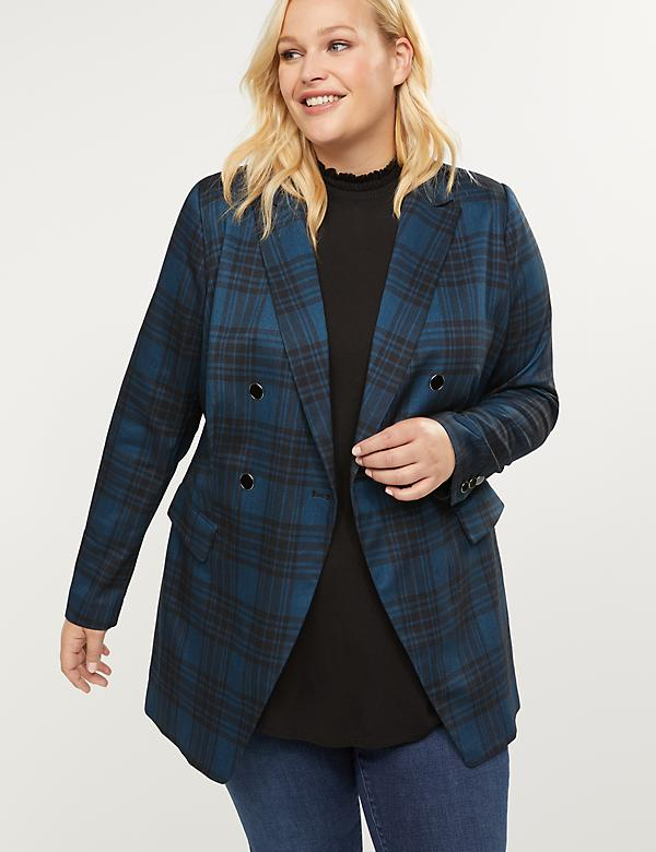 Longer Length Bryant Blazer - Plaid Double Breasted Tailored Stretch