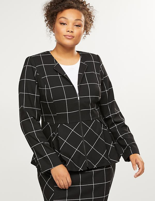 Peplum Zip-Up Jacket - Windowpane Plaid