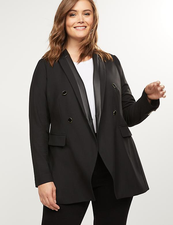 Longer Length Blazer - Double Breasted Tailored Stretch With Faux-Leather Trim