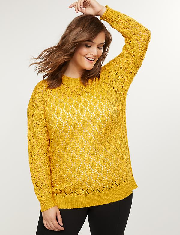 Texture-Stitch Crew-Neck Sweater