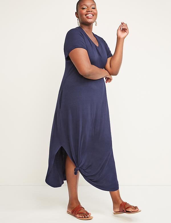 Knot-Hem Midi Dress