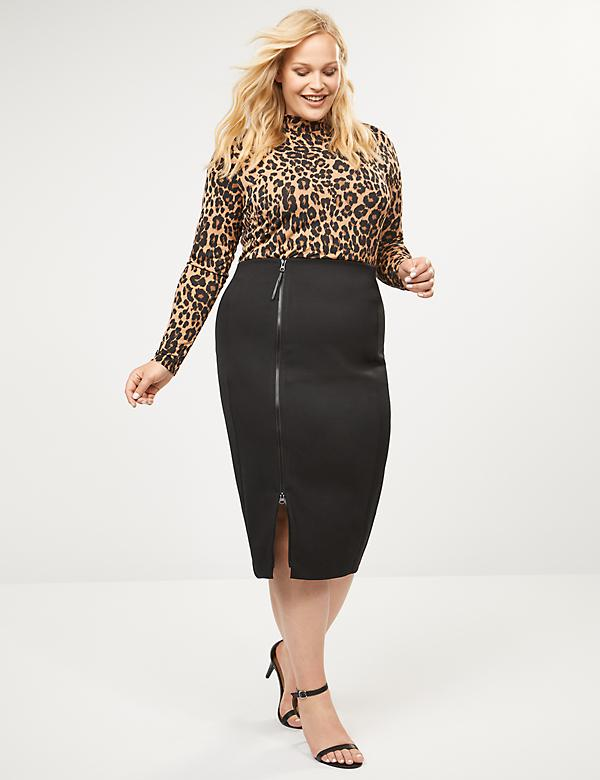 Zip-Up Ponte Pencil Skirt