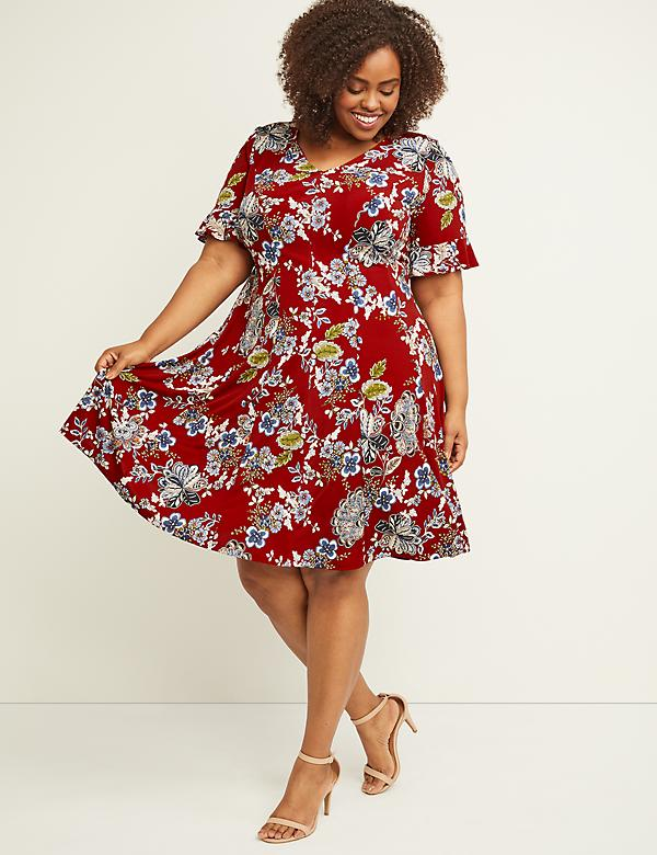 Textured Floral Swing Dress