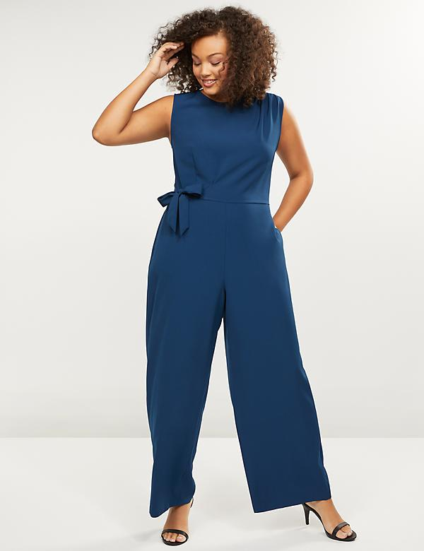 Lena Side-Tie Wide Leg Jumpsuit