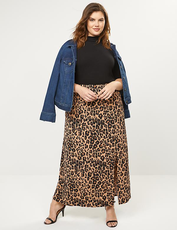 Animal Print Pull-On Maxi Skirt