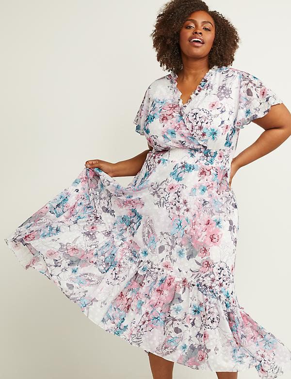V-Neck Floral Fit & Flare Maxi Dress