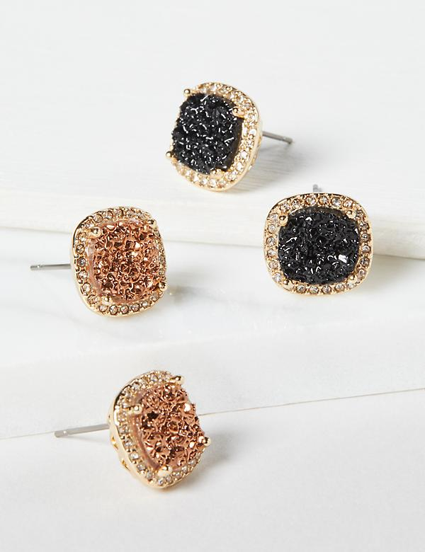 Stud Earrings 2-Pack - Faux Druzy