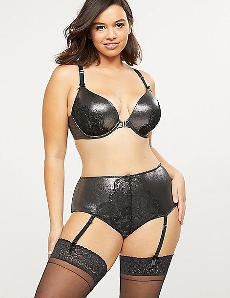 Metallic Mid-Waist Cheeky Garter Panty With Lace