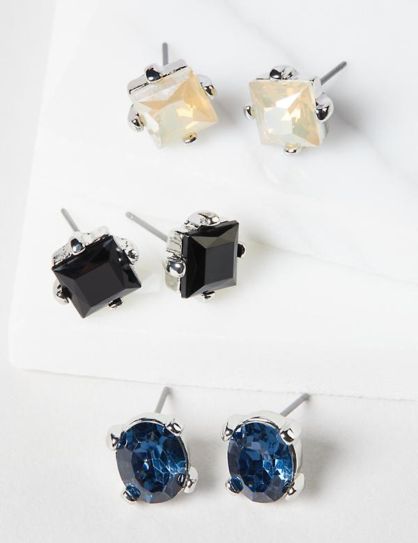 Stud Earrings 3-Pack - Colorful Faceted Stones